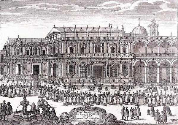 Pedro Tortolero. Casa del Cabildo de Sevilla y procesión del Corpus. Grabado. 1738. Universidad de Sevilla.