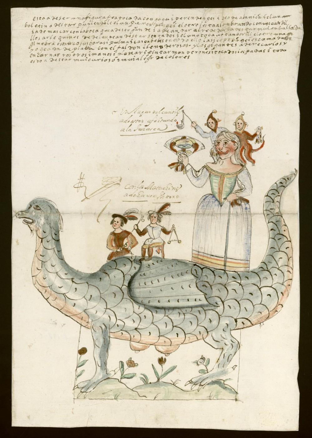 José de Barahona y Tomás de Barahona. Tarasca con arlequines. Procesión del Corpus Christi. 1667. Archivo de la Villa de Madrid.