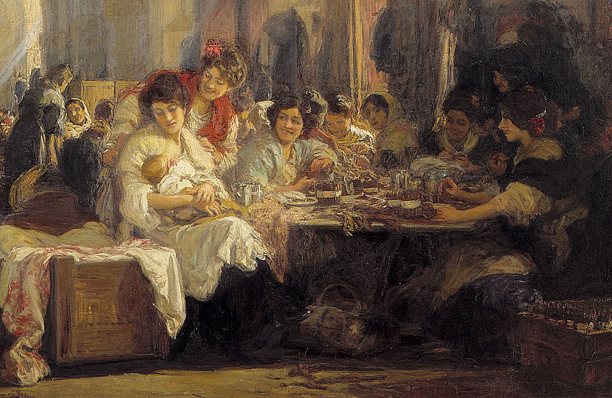 Gonzalo Bilbao. Las cigarreras (detalle). 1915. Museo de Bellas Artes. Sevilla