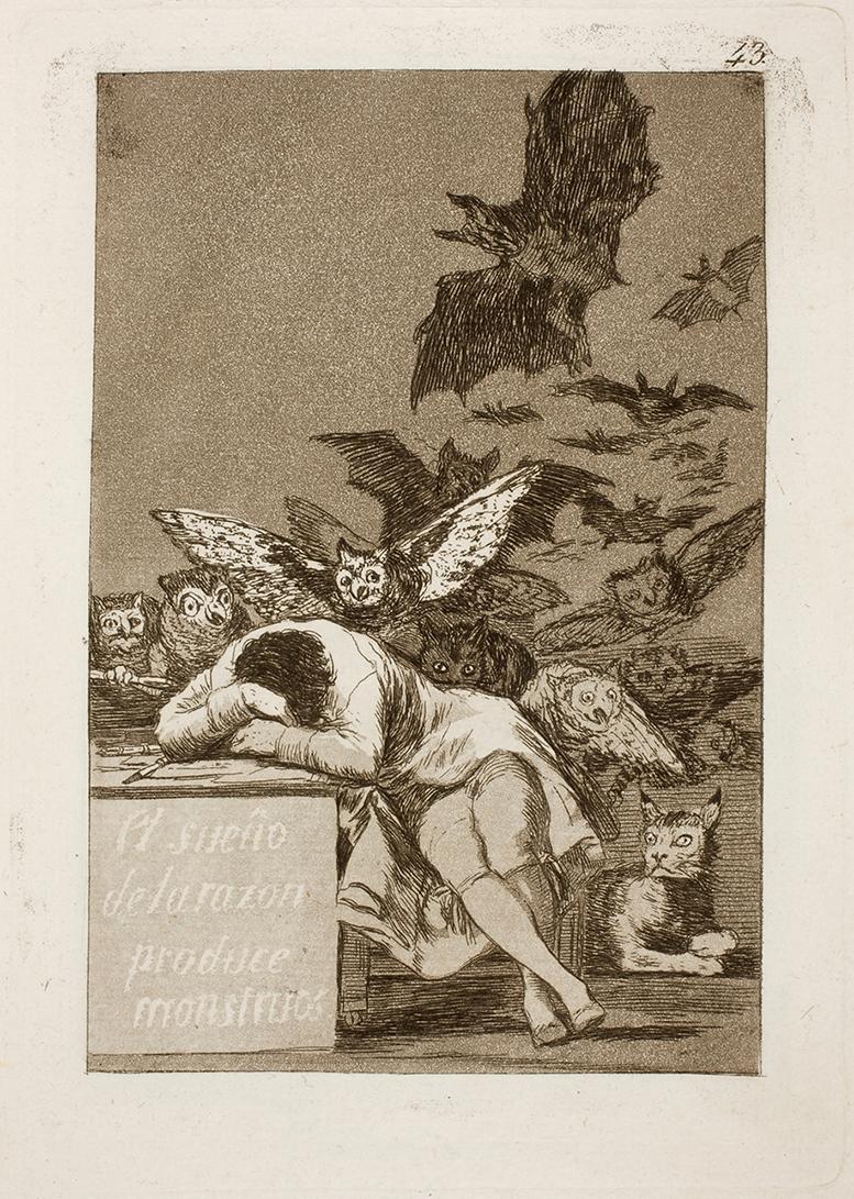 """Francisco de Goya. """"El sueño de la razón produce monstruos"""". Caprichos. 1799. Museo Nacional del Prado."""