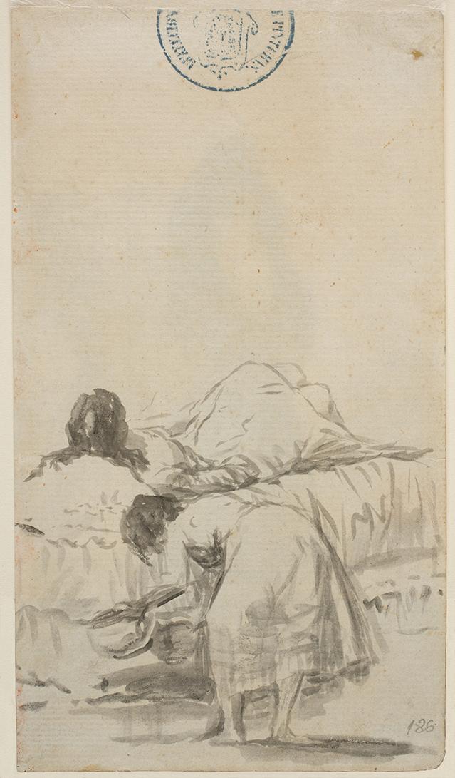 """Francisco de Goya. """"La siesta"""". Álbum de Sánlucar o Álbum A. 1797. Museo Nacional del Prado."""