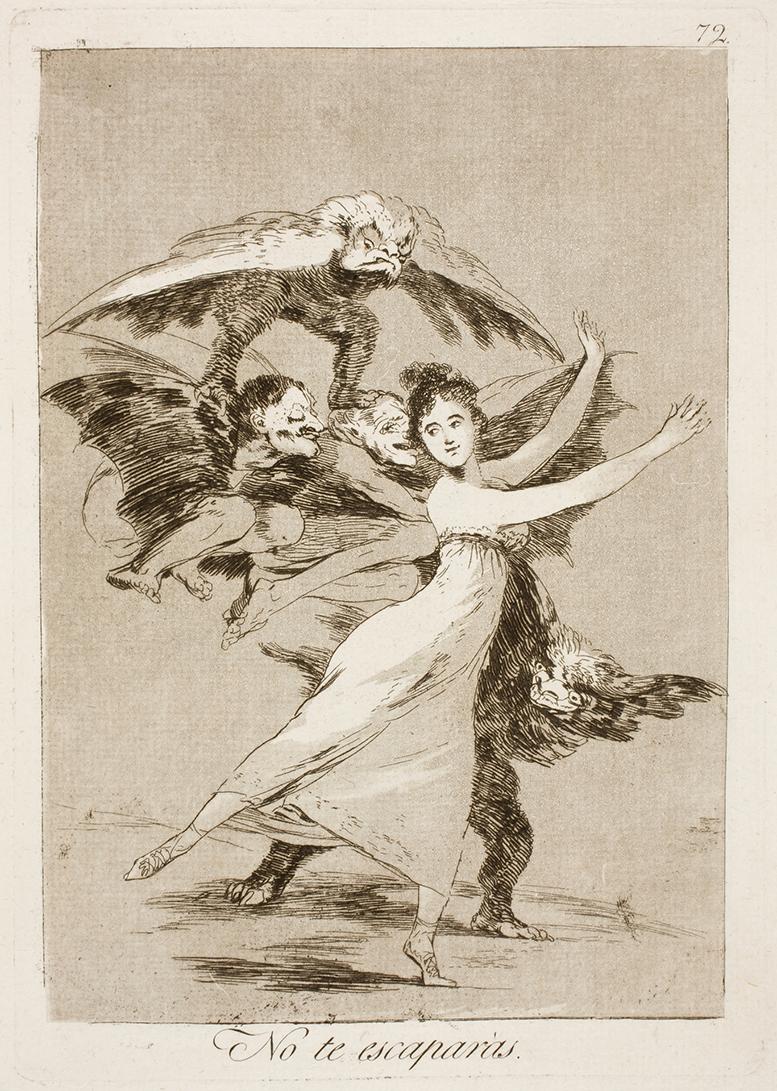 """Francisco de Goya. """"No te escaparás"""". Caprichos. 1797. Museo Nacional del Prado."""