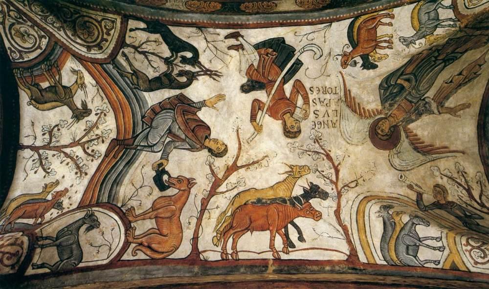 Anunciación de los pastores. Hacia 1180. Panteón de los Reyes. Colegiata de San Isidoro de León.