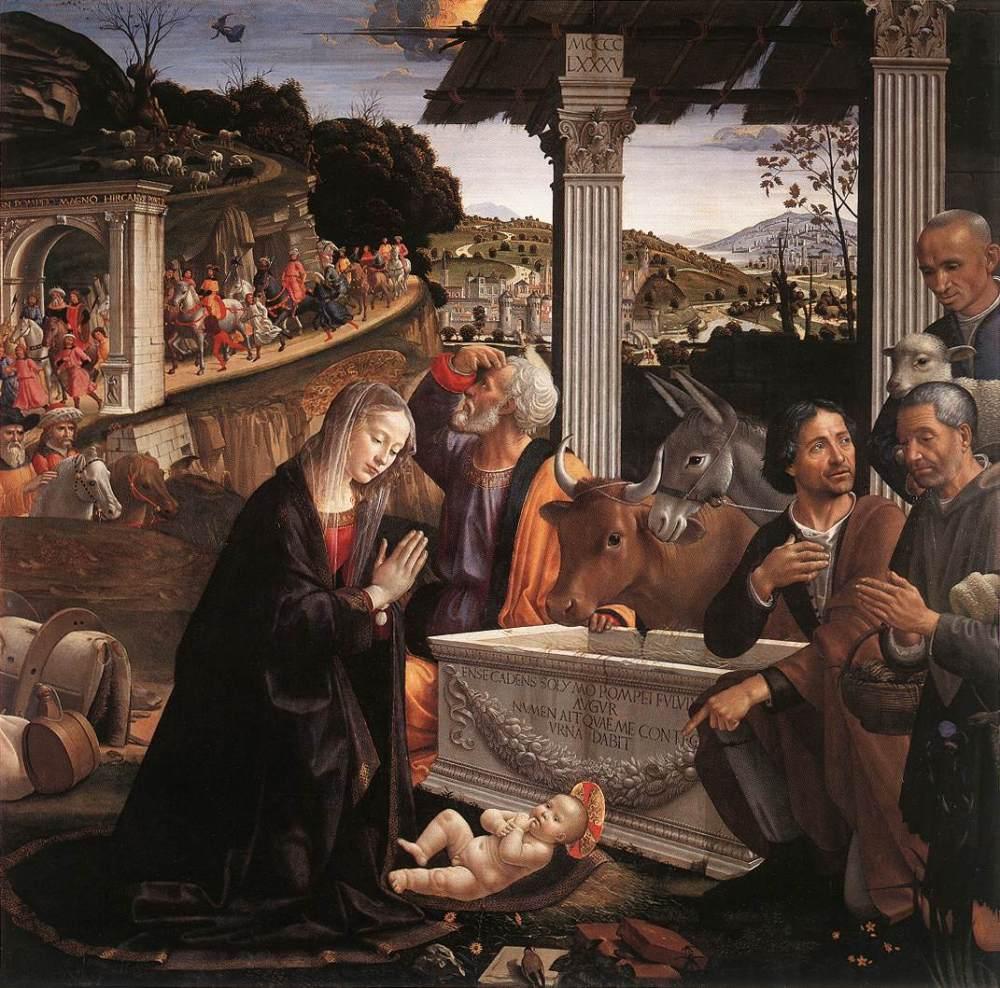 Domenico Ghirlandaio. La Adoración de los pastores. 1483-1485. Iglesia de la Santa Trinita.