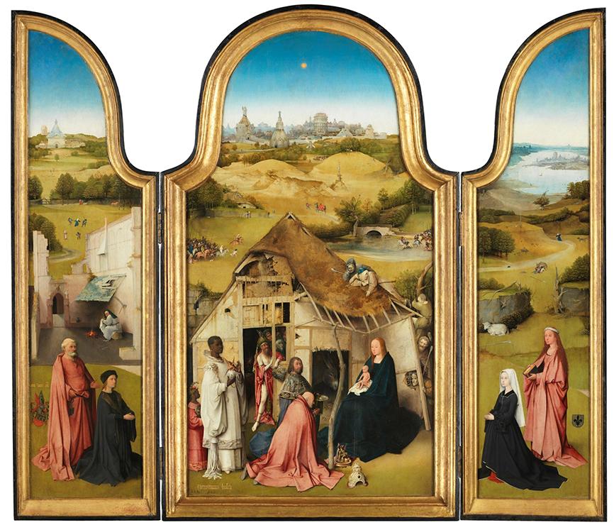 El Bosco. Triptico de la adoración de los Magos. Hacia 1494. Museo del Prado. Madrid.