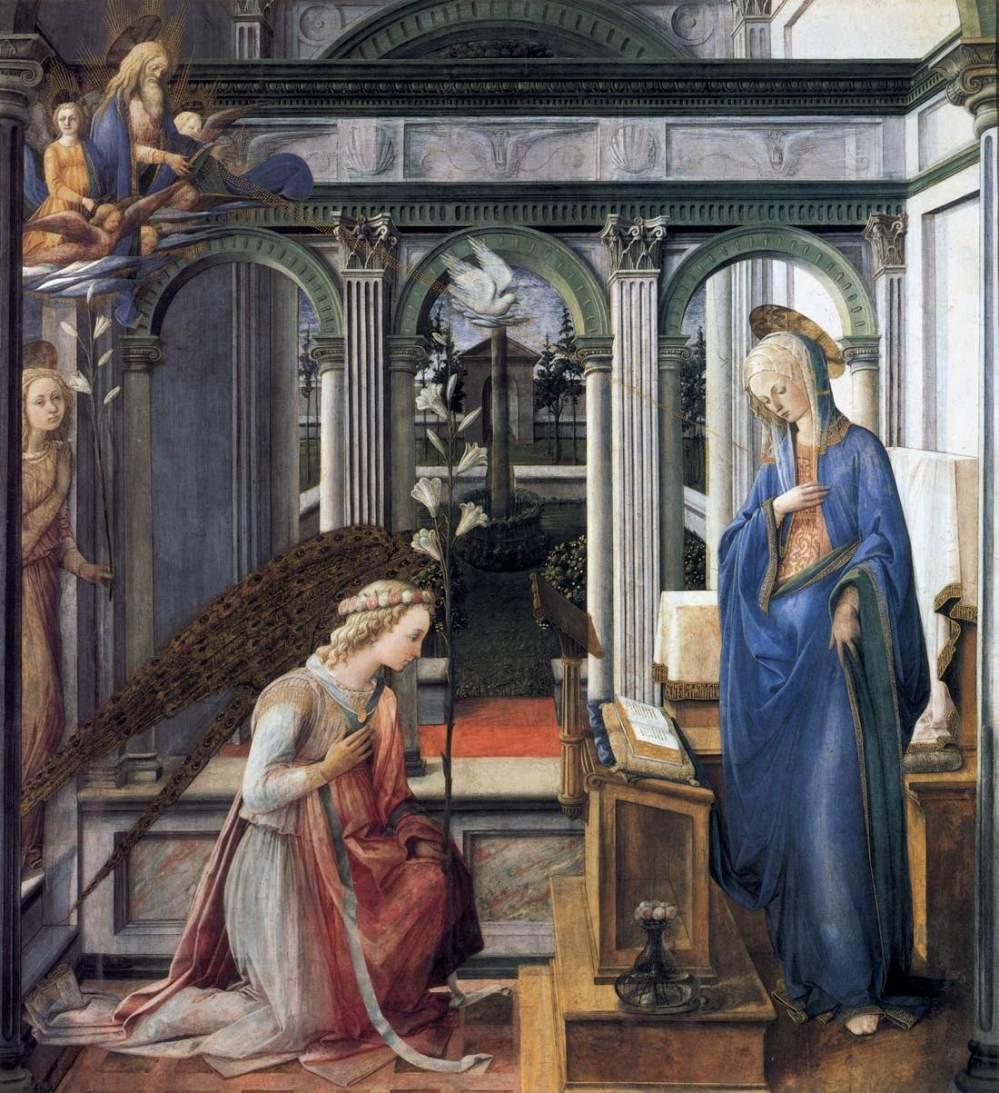 Fra Filipo Lippi. La Anunciación. Hacia 1443. Alte Pinakothek. Munich.