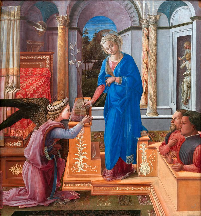 Fra Filippo Lippi. La Anunciación con donantes. Hacia 1435. Palazzo Venecia. Roma.