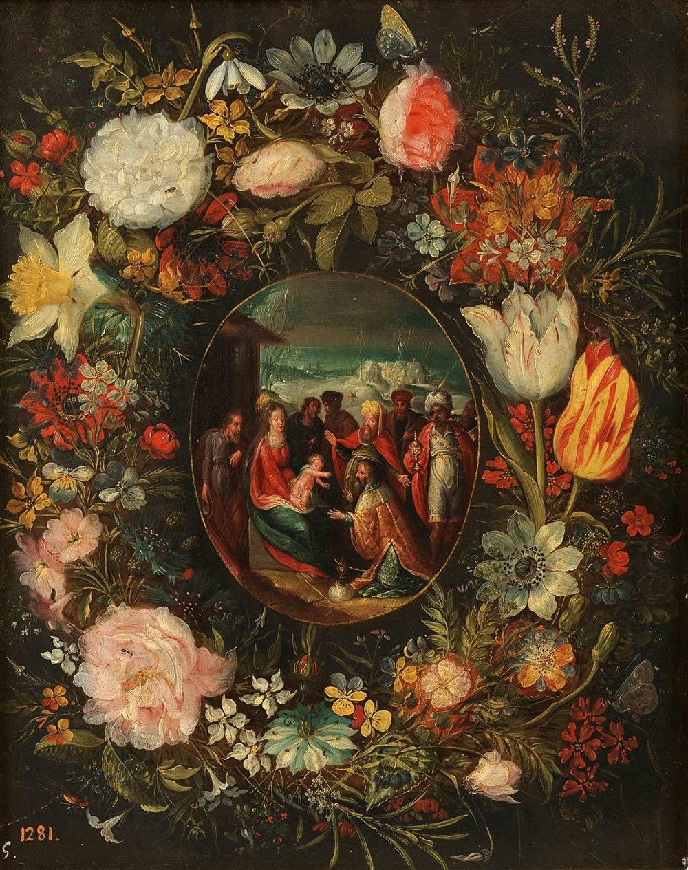 Pieter Brueghel el joven. Guirnalda con la Adoración de los Reyes Magos. Siglos XVI - XVII. Museo Nacional del Prado. Madrid.