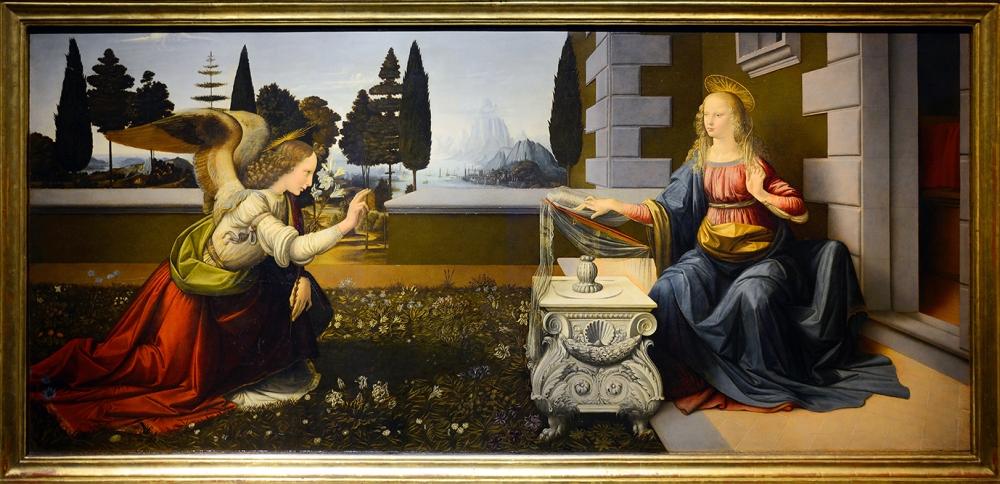 Leonardo da Vinci. La Anunciación. Hacia 1472. Galeria de los Uffizi. Florencia.