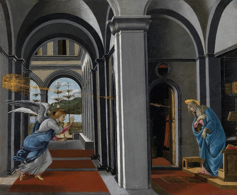 Sandro. Boticelli. Anunciación. Hacia 1490-1495. Kelvingrove Art Gallery and Museum.