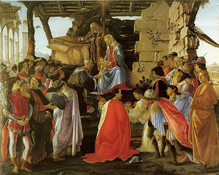 Sandro Botticelli. Adoración de los Magos. Hacia 1475. Galería de los Uffizi. Florencia.