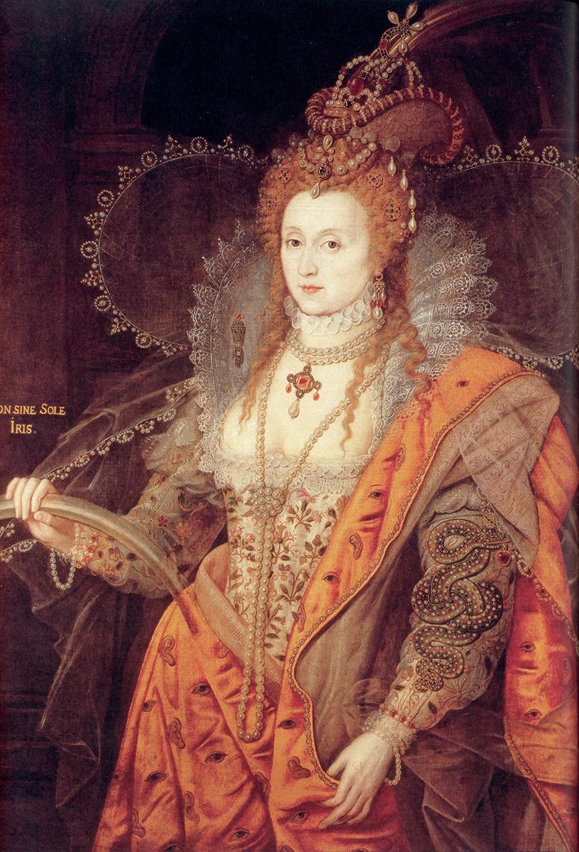 Atribuido a Isaac Oliver o a Marcus Gheeraerts. Retraro arcoiris de Isabel I. 1600-1602. Hatfield Hause. Colección del marqués de Salisbury.