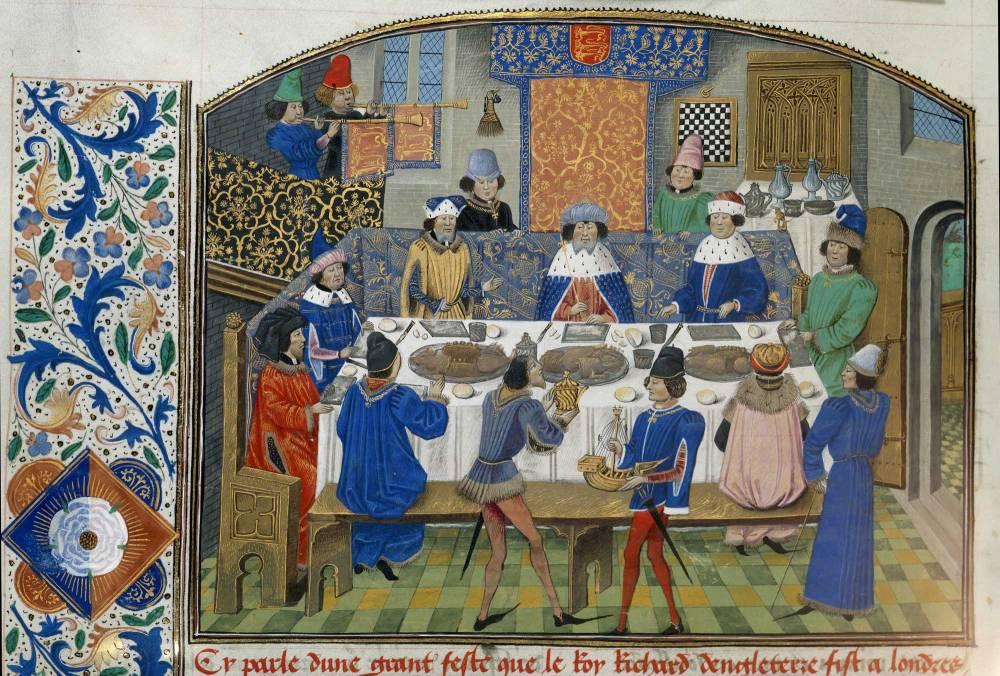 Imagen de un manuscrito con iluminaciones. Fiesta medieval. Finales del siglo XV. British Library.