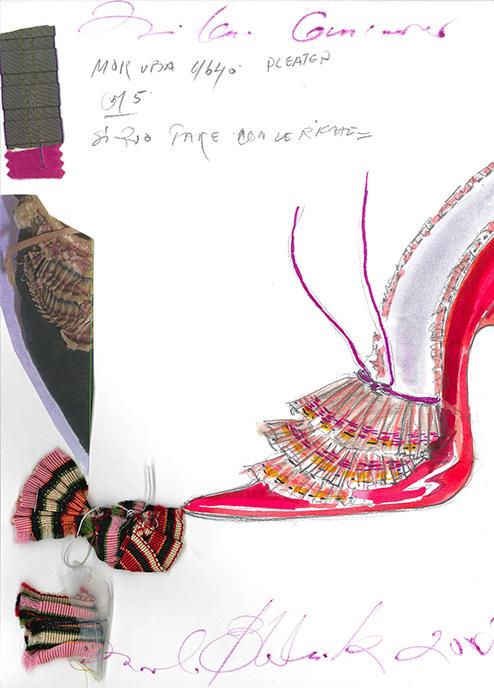 Dibujo en tinta y lápiz del zapato con muestras de tela. Colección Marie Antoinette. 2005.