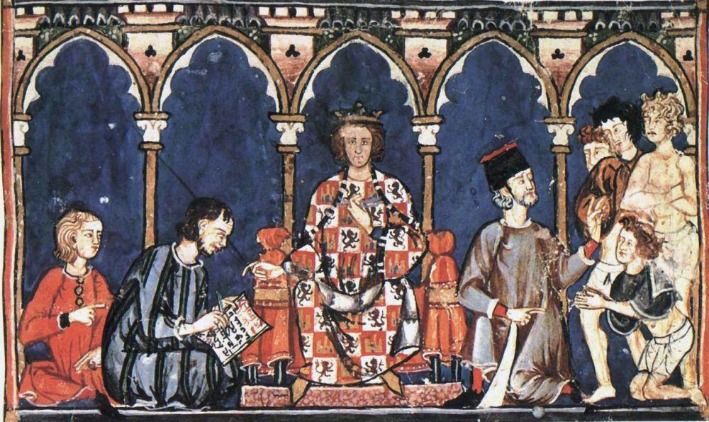 Alfonso X el Sabio con sus colaboradores del escritorio real.