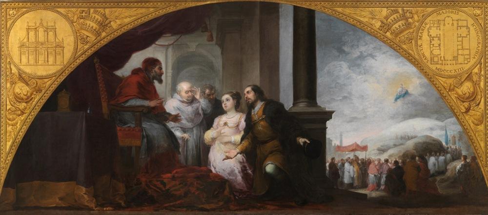 Bartolomé Esteban Murillo. Fundación de Santa María Maggiore de Roma. El patricio revela su sueño al papa Liberio. 1664-1665. Museo del Prado.