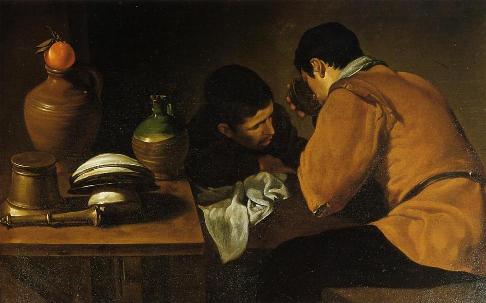 Diego Velázquez. Dos hombres sentados a la mesa. 1618-1620.Apsley House. Wellington Museum. Londres.