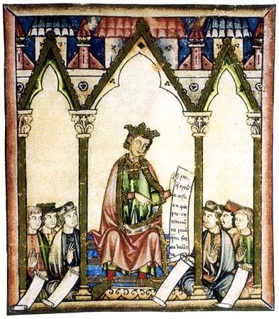 El rey Alfonso X de Castilla representado en una miniatura de las Cantigas de Santa María.