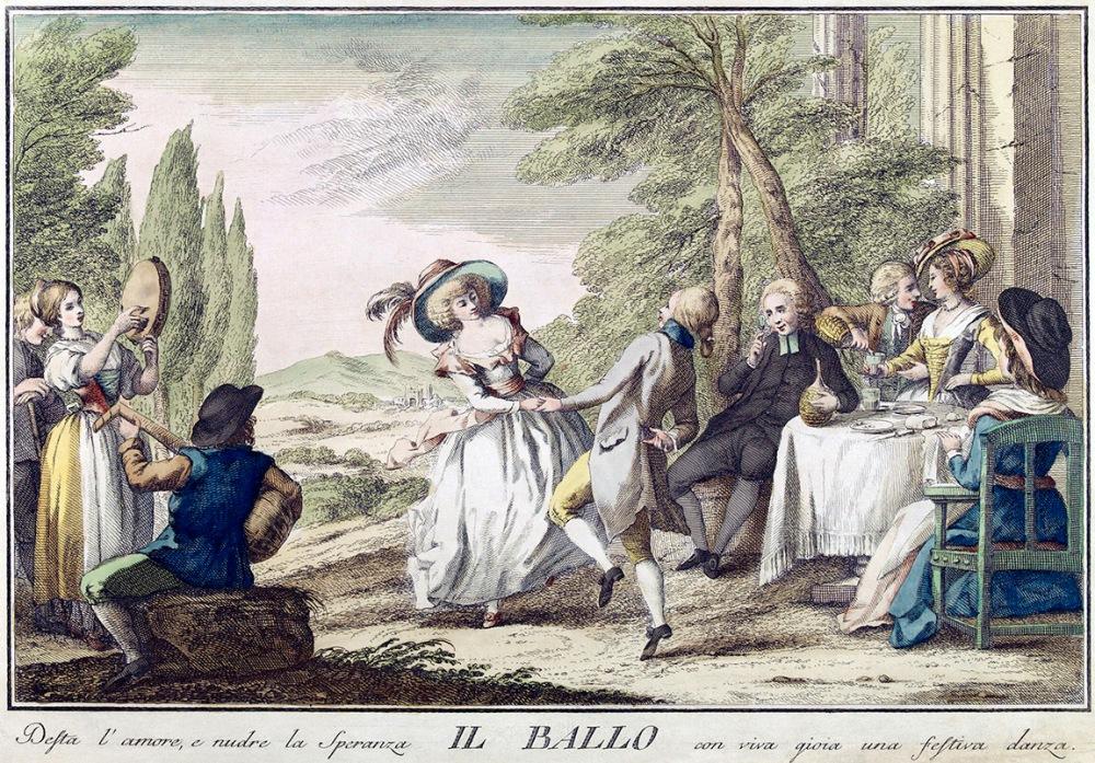 Giuseppe Piattoli. El baile. 1790. Libreria del Congreso. EEUU.