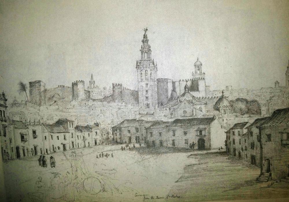 Richard Ford. Carmona desde el barrio de San Pedro. 1830. Sevilla.