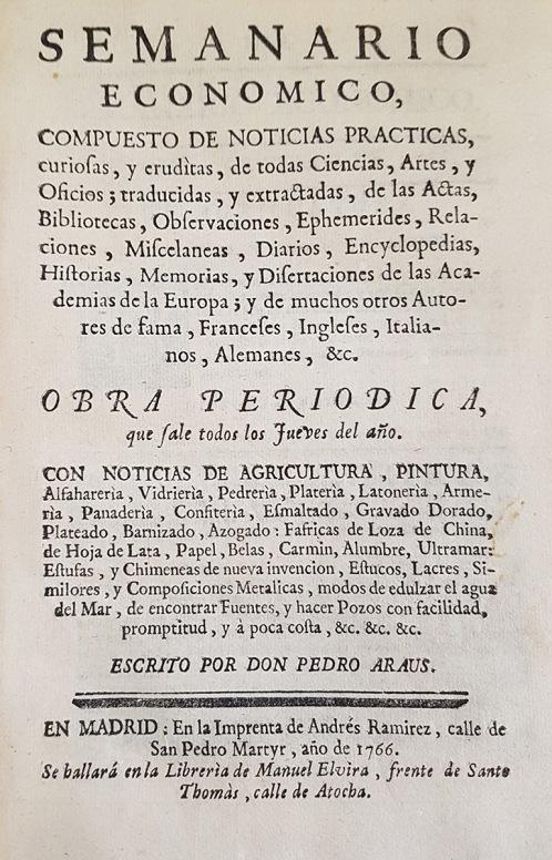 Semanario económico. Pedro Arús. 1766. Madrid.