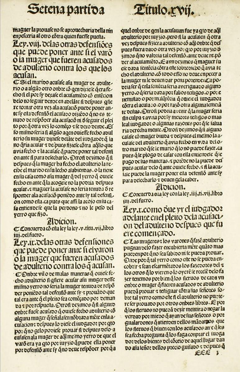 Partida VII. Título XVII. Ejemplar impreso el 24 de diciembre de 1491.