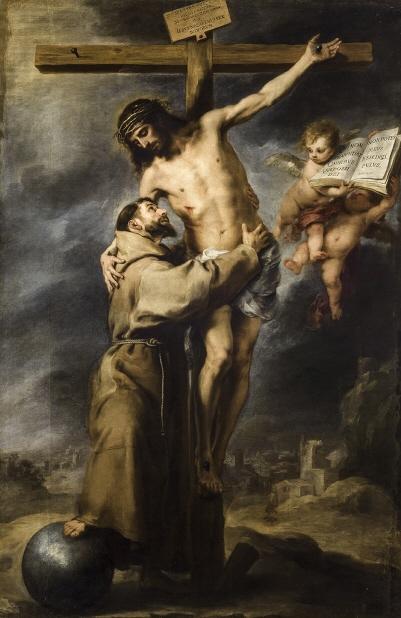 Bartolomé Esteban Murillo. San Francisco abrazando a Cristo en la Cruz. 1668-1669. Museo de Bellas Artes de Sevilla.