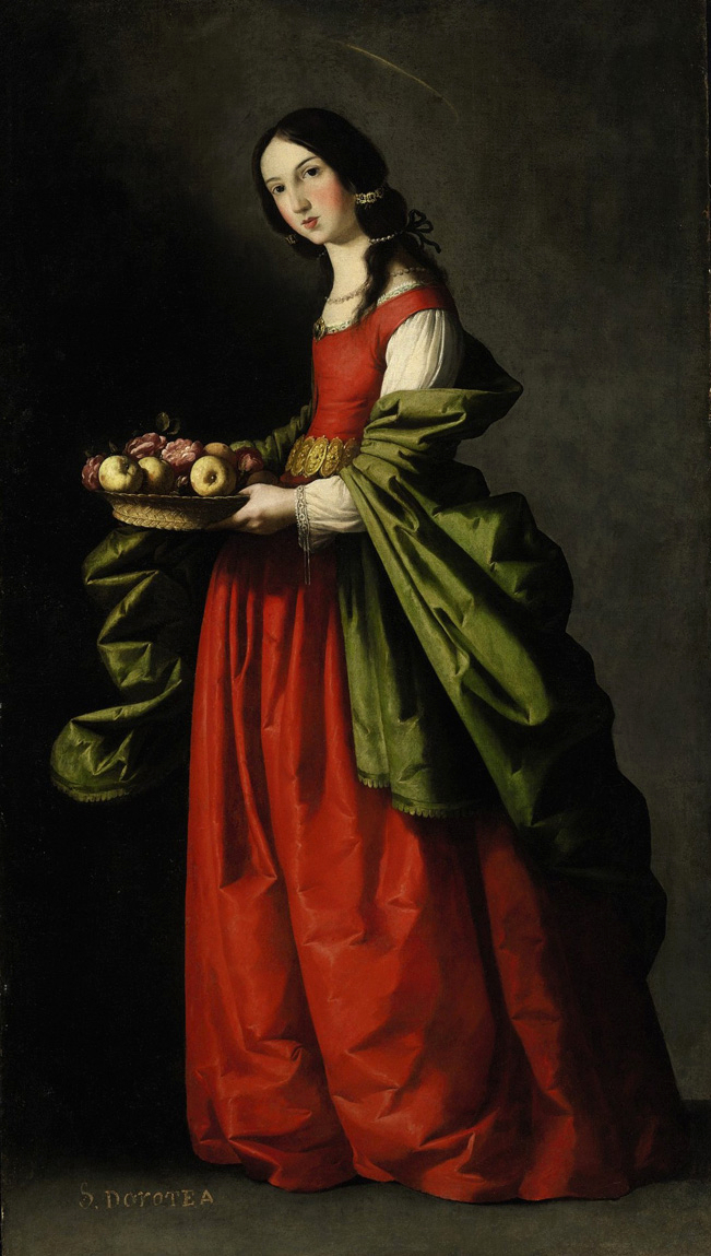 Francisco de Zurbarán. Santa Dorotea con un cesto de manzanas y rosas. Hacia 1648. Colección Particular.