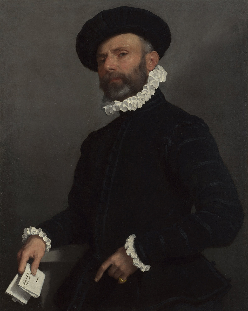 Giovanni Battista Moroni. Retrato de hombre sujetando una carta. Hacia 1570. National Gallery. Wahington.