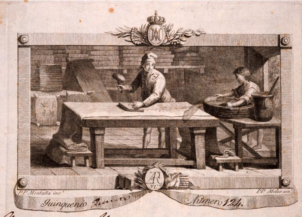 P.P. Moles y P.P. Montanyà. El estampador de indianas. Barcelona, 1802. Incluido en un pagaré de la fábrica de indianas de Joaquim Espalter i Rosàs i Cia. AHCB. Barcelona.