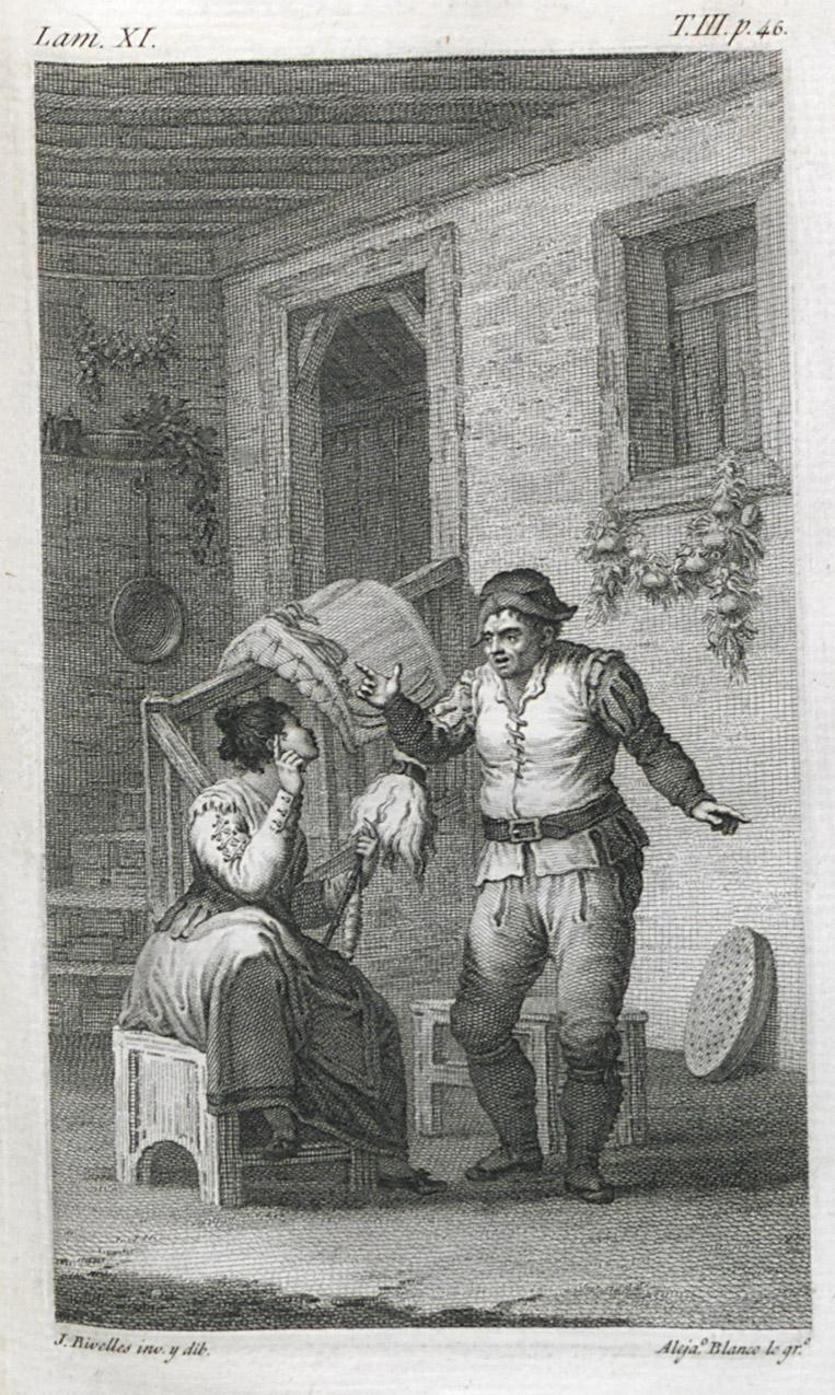 Alejandro Blanco según dibujo de J. Ribelles. Sancho con Teresa Panza. 1819. Edición de la Real Academia Española. Imprenta Real.