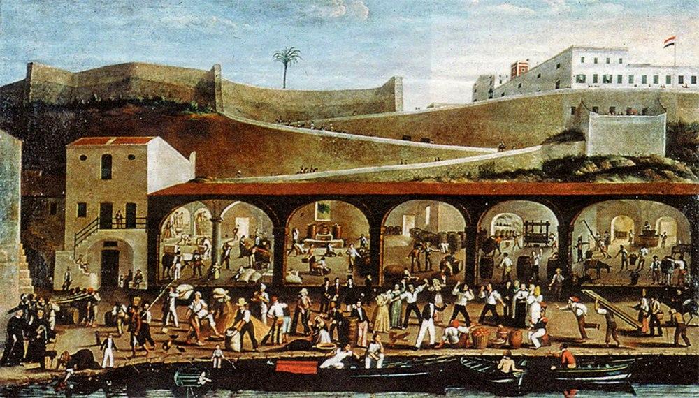 Anónimo. Comerciantes en el puerto de Mahon. Siglo XVIII. Fotografía de Carlos Pons bajo licencia Creative Commons.