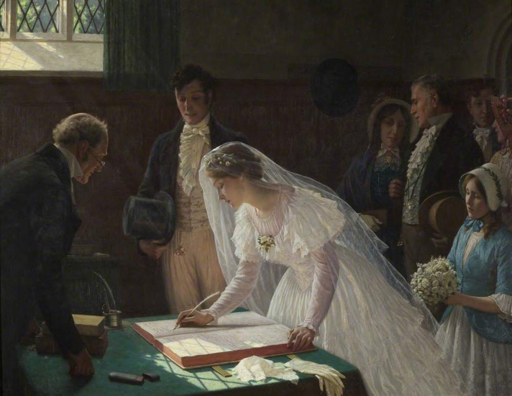 Edmund Blair Leighton. El registro de boda. 1920. Bristol City Museum and Art Gallery.
