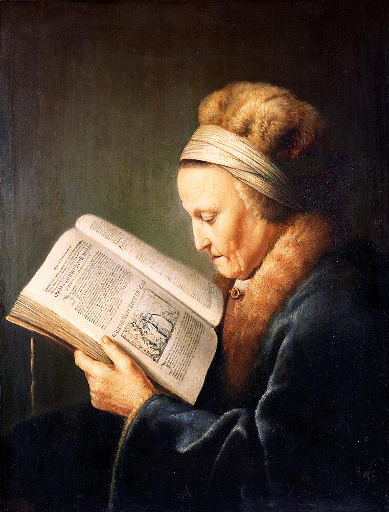 Gerard Dou. Retrato de mujer mayor leyendo. 1630-1635. Rijksmuseum.