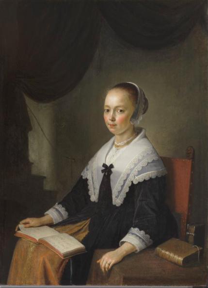 Gerard Dou. Retrato de una dama, sentada con un libro de música en su regazo. 1640-1644. The Pushkin State Museum of Art.