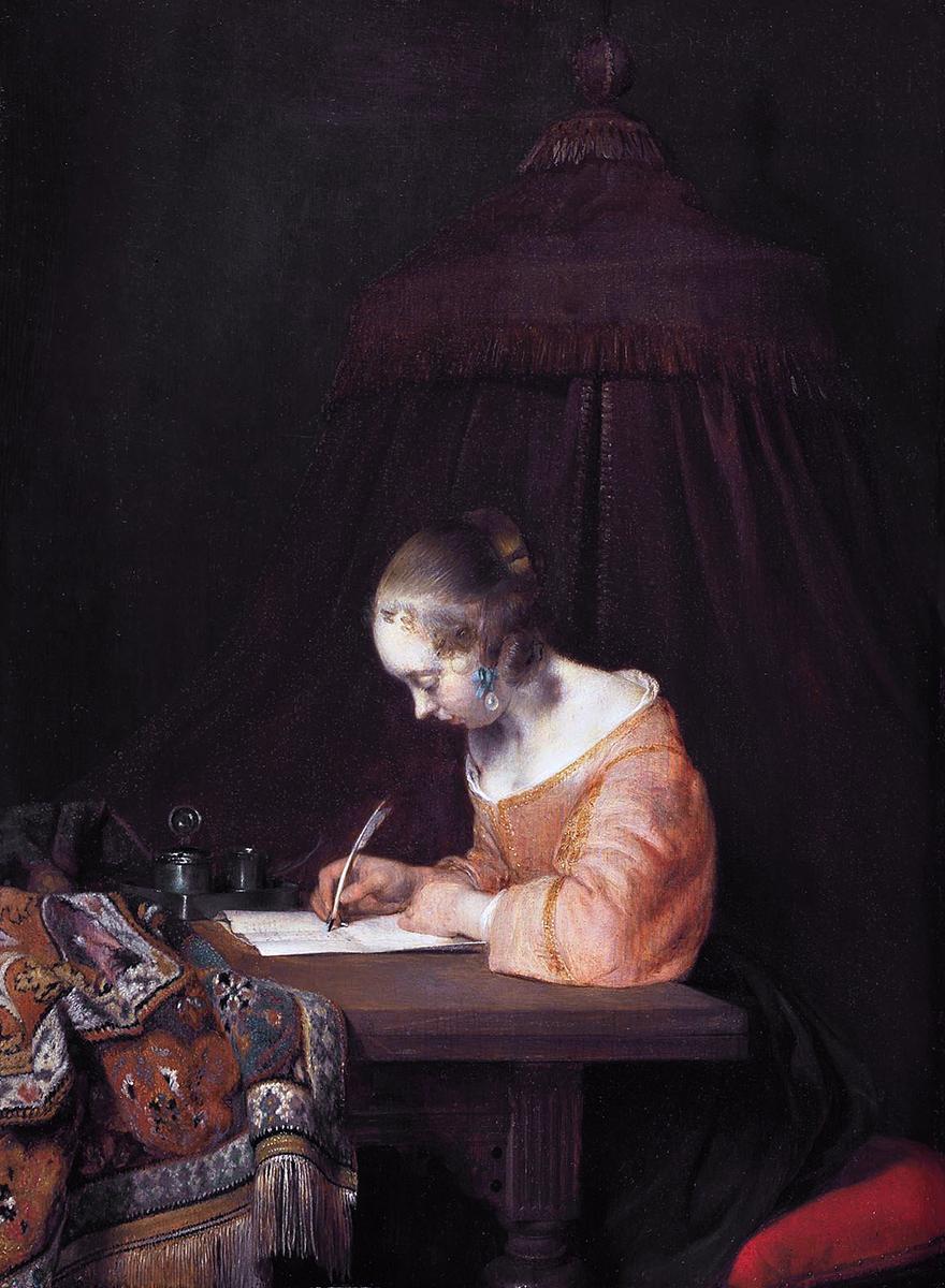 Gerard ter Borch. Mujer escribiendo una carta. Mautithius Museum. La Haya.