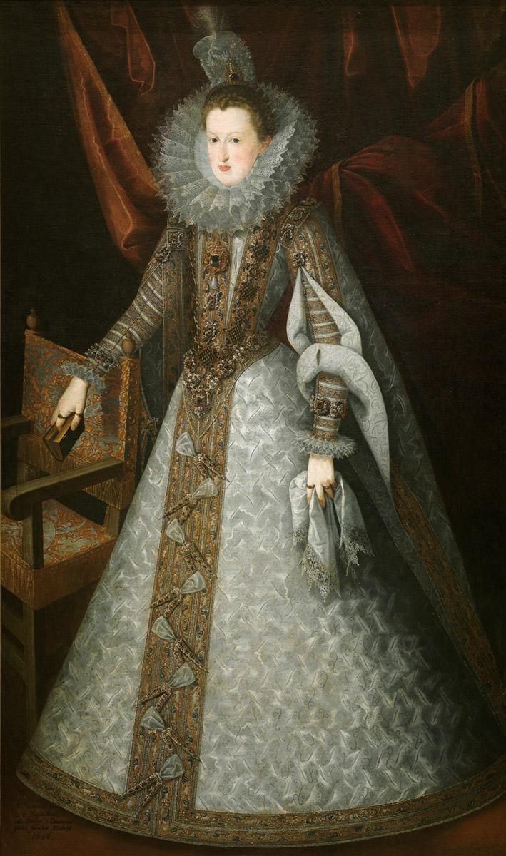 Juan Pantoja de la Cruz. 606. Margarita de Austria. Museo del Prado. La reina luce verdugado.