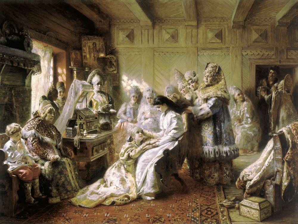 Konstantin Makovsky. El atuendo de la novia rusa. 1884.