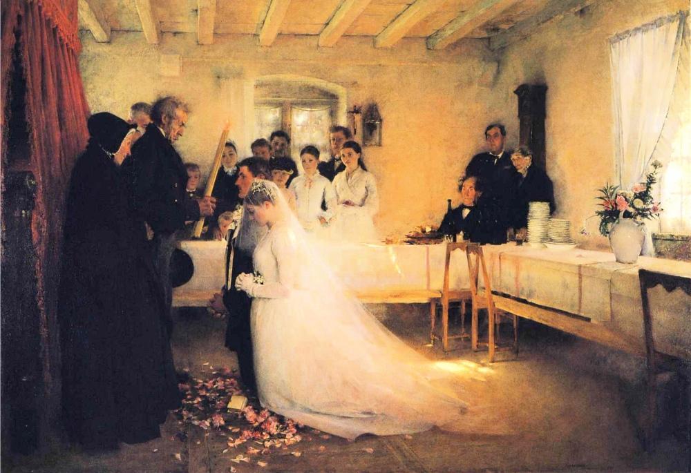 Pascal Dagnan Bouveret.Bendicion de la joven pareja antes del matrimonio. 1880-1881. Pushkin Museum of Fine Arts.