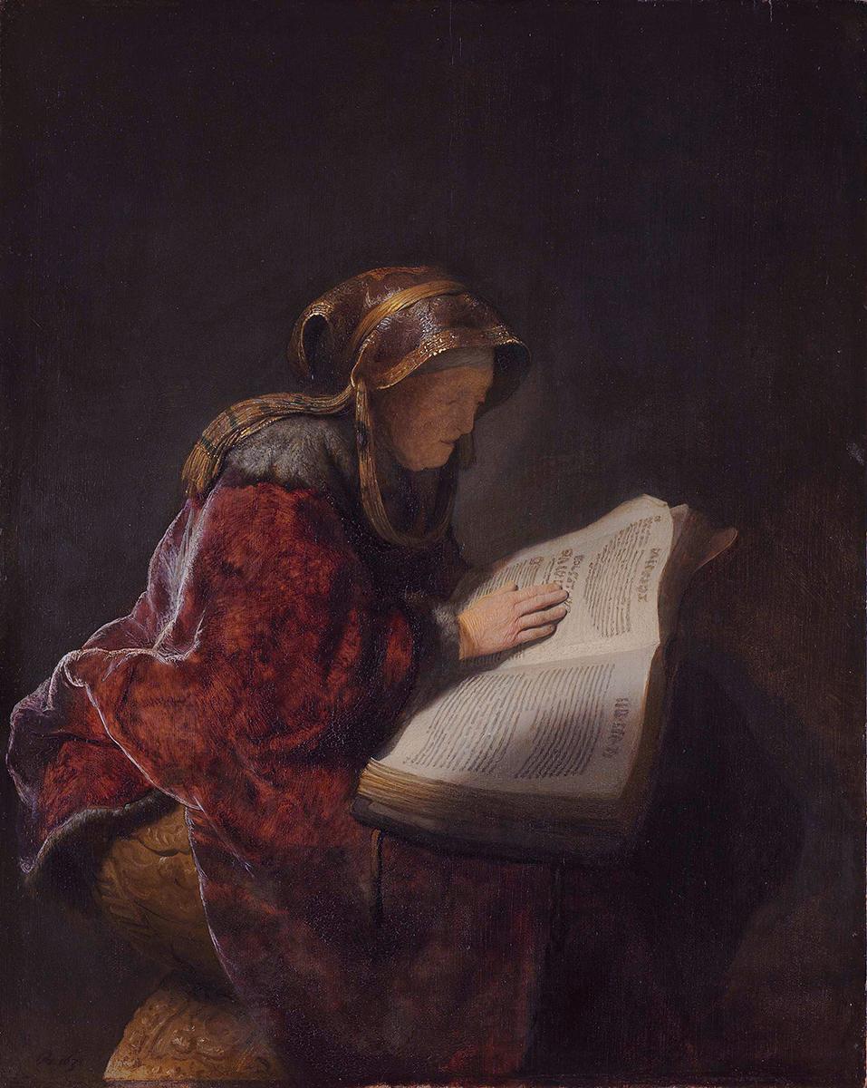 Rembrandt van Rijn. Mujer mayor leyendo. Probablemente la profeta Anna. 1631. Rijksmuseum.