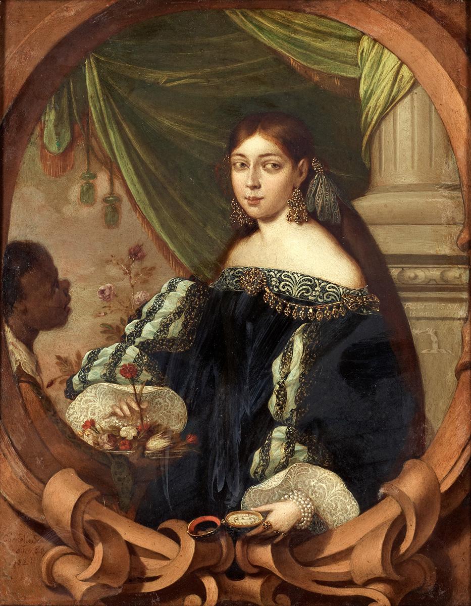Cornelis Schut III. Mujer del renacimiento con sirviente. Hacia 1682. Colección Arne Nilsson