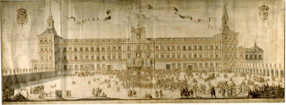 Filippo Pallota. Fachada del Alcázar de Madrid, 1704. Museo de Historia. Madrid.