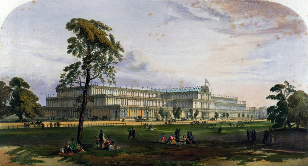 Crystal Palace desde el Noreste. Comprehensive Pictures of the Great Exhibition of 1851. Dickson. 1851.