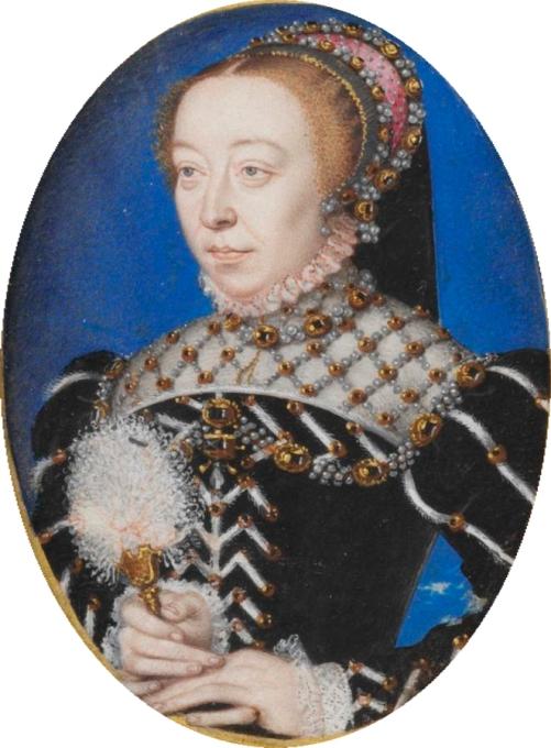 Atribuido a François Clouet. Catalina de Medicis. Hacia 1.555. VIctoria and Albert Museum. Londres.