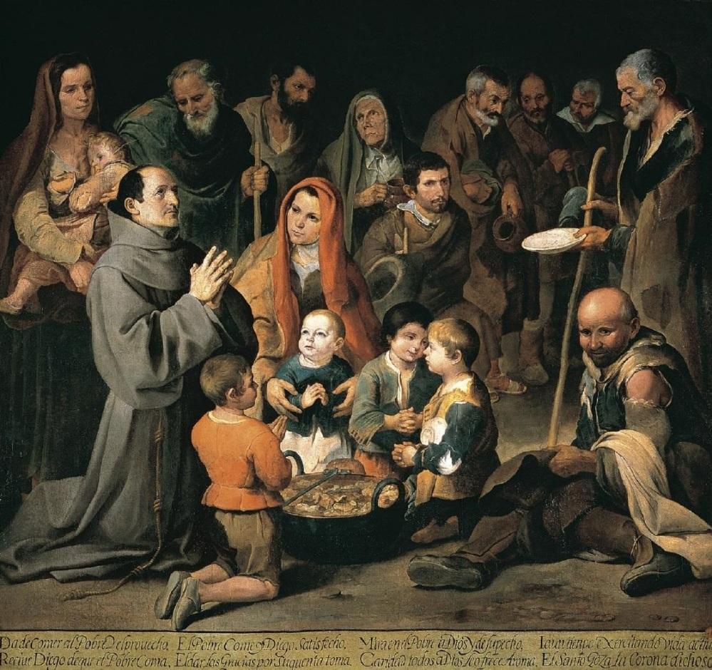 Bartolomé Esteban Murillo. San Diego de Alcalá dando de comer a los pobres. Hacia 1646. Real Academia de San Fernando. Madrid.