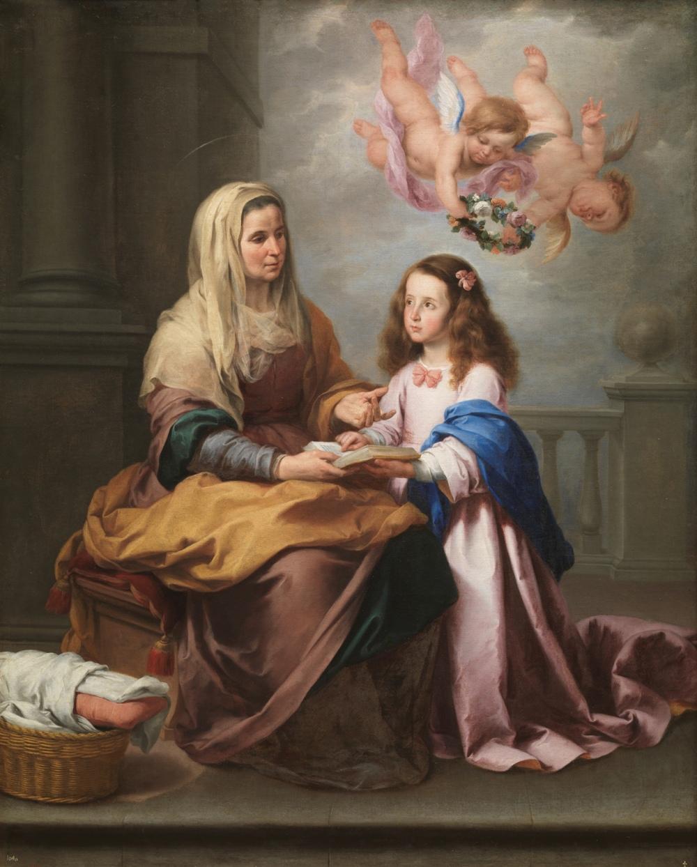 Bartolomé Esteban Murillo. Santa Ana enseñando a leer a la Virgen. 1655. Museo Nacional del Prado.