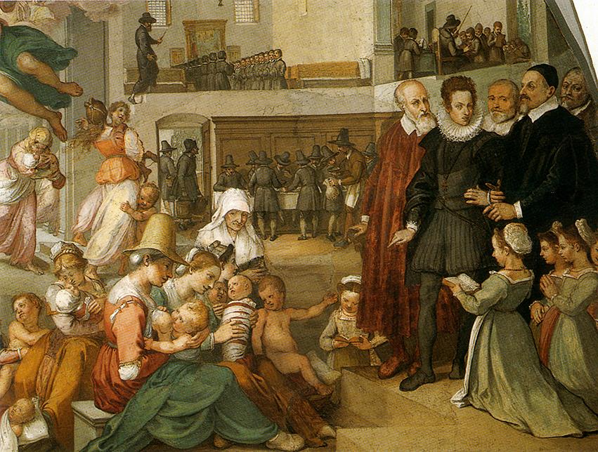 Bernardo Poccetti. Visita de Cosimo II de Medici en la fundación del Hopital. Detalle del fresco. 1610. Hospital del los Inocentes .Florencia