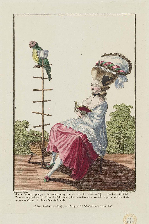 Claude-Louis Desrais. 1778. Joven en bata de baño por la mañana. Plancha 56 de Gallerie des Modes et Costumes Français. Museum of fine Arts. Boston.