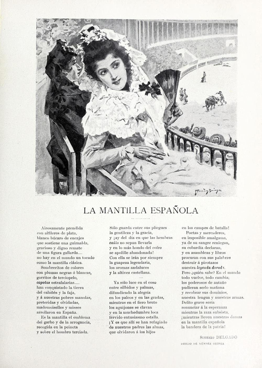 Texto, Sinesio Delgado. Ilustración, Méndez Bringa. Revista Blanco y Negro. La mantilla española. 1900.