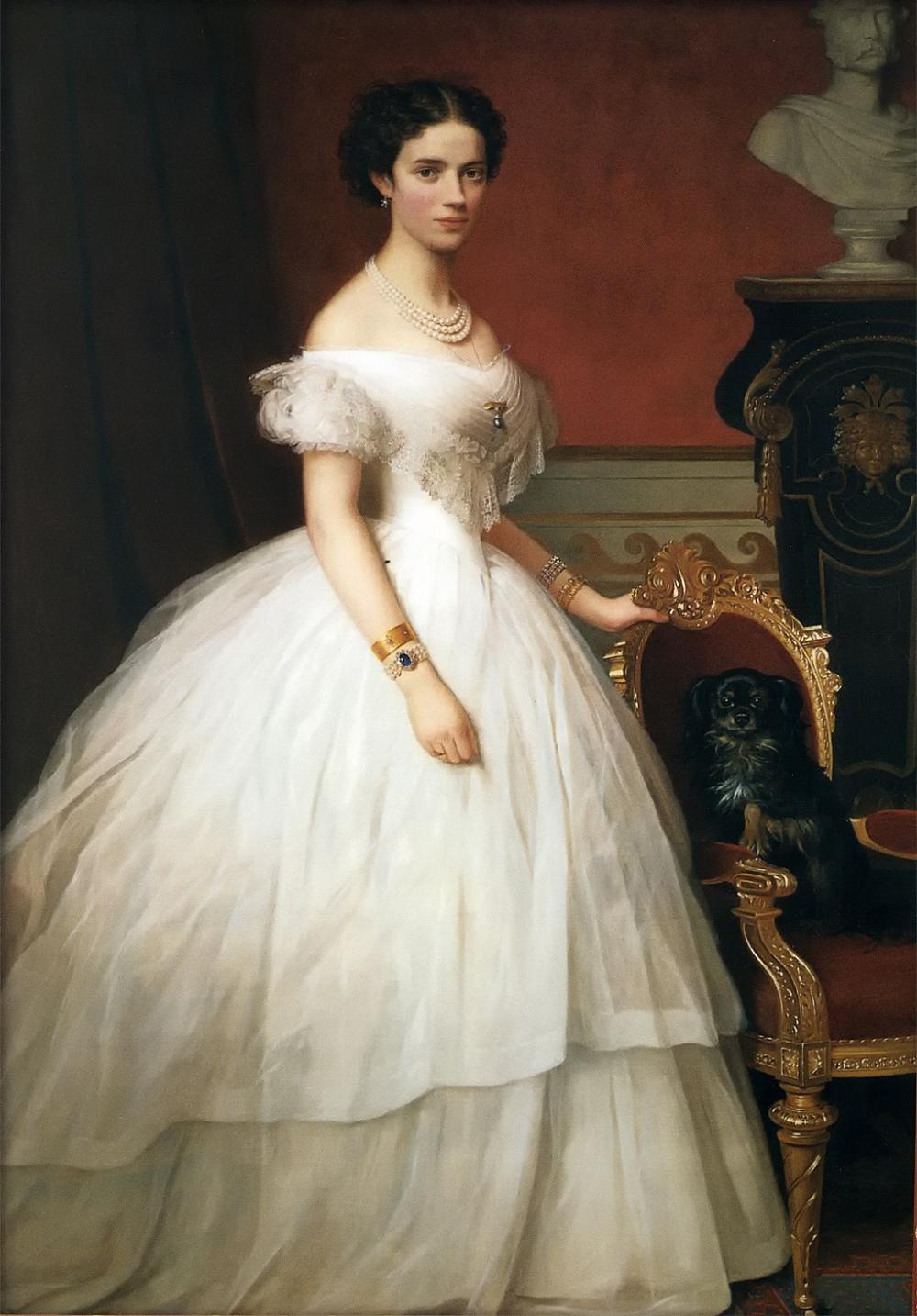 A. Hunæus. Princesa Dagmarde Dinamarca con su perro. Hacia 1860. Museo Amalienborg. Copenhague.